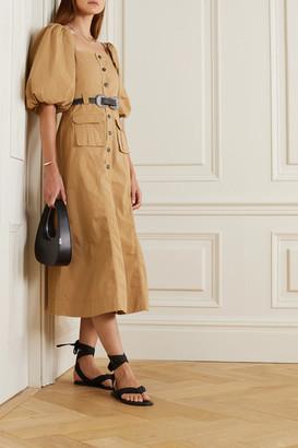 Ganni Cotton-blend Ripstop Midi Dress - Beige