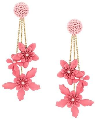 Oscar de la Renta Multi Floral-Drop Earrings