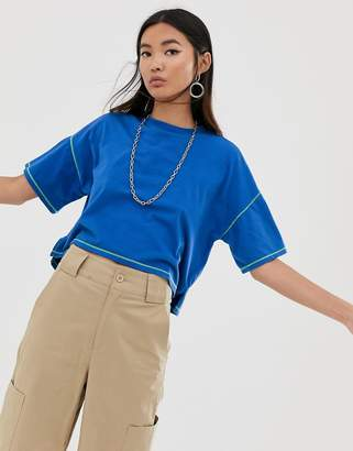 Asos Design DESIGN oversized cropped t-shirt stepped hem in cobalt with contrast stitching-Blue