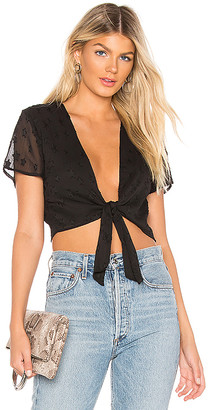 superdown Aylin Star Embellished Tie Crop Top