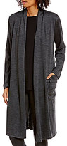 Eileen Fisher Sleek Heathered Wool Jersey Kimono Cardigan