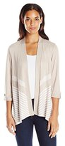 Alfred Dunner Women's Striped Knit Cardigan Sweater
