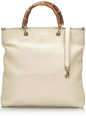 Gucci Pre-Loved White Ivory Others Leather Bamboo Shopper Italy