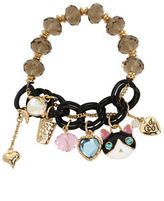 Betsey Johnson Cat and Fish Multi Charm Half Stretch Bracelet