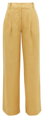 ASCENO Rivello High-rise Pleated Linen Trousers - Dark Yellow