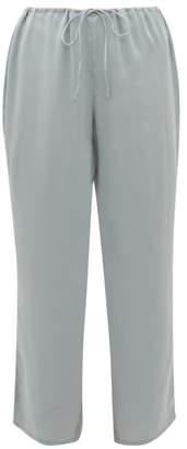 Skin - Tilda Drawstring Silk Blend Satin Pyjama Trousers - Womens - Light Blue
