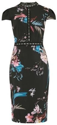 Dorothy Perkins Womens **Little Mistress Multi Colour Floral Print Cap Sleeve Dress, Multi Colour