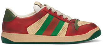 Gucci Red and Green Screener Sneakers