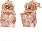 LeVian 14K Strawberry Gold Peach Morganite Earrings with Chocolate and Vanilla Diamonds