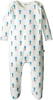 Oeuf Footie Jumper (Baby) - White With Blue Cats - 3-6 Months
