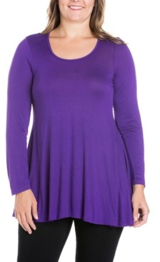 24seven Comfort Apparel Women's Plus Size Poised Swing Tunic Top