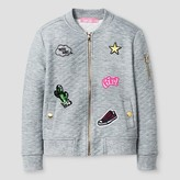Girls' Say What? Quilted Bomber Jacket - Grey