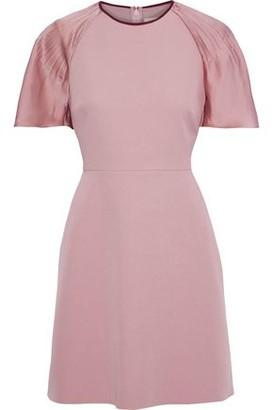 Roksanda Pleated Satin-paneled Cady Mini Dress