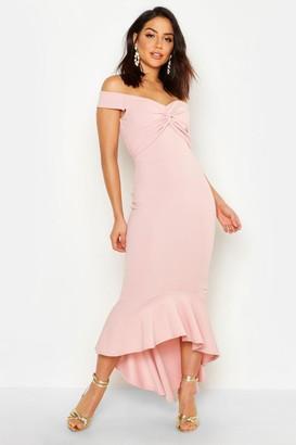boohoo Fishtail Dip Hem Maxi Bridesmaid Dress
