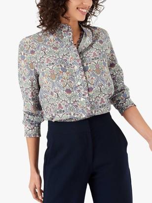 Brora Liberty Silk Print Shirt, Thunder Botanical