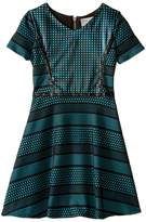 Us Angels Short Sleeve Bonded Scuba Dress w/ Pleather Inset & Flare Skirt (Big Kids)