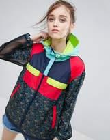 Asos Rain Jacket In Ditsy Floral Print And Mesh