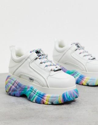 Buffalo David Bitton London chunky rainbow sole trainers in white