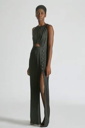 Yigal Azrouel Hammered Silk Cutout Gown
