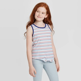 Cat & Jack Girls' Striped Tie Front Tank Top - Cat & JackTM White