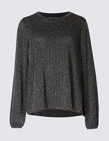 M&S Collection Metallic Stripe Long Sleeve T-Shirt