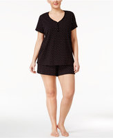 Charter Club Plus Size Top and Boxer Shorts Printed Cotton Knit Pajama Set, Only at Macy's