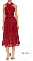 Oscar de la Renta Lace Cross Front Fit And Flare Dress