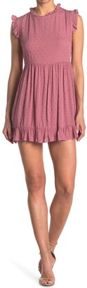 Luna Chix Clip Dot Ruffle Trim Mini Dress