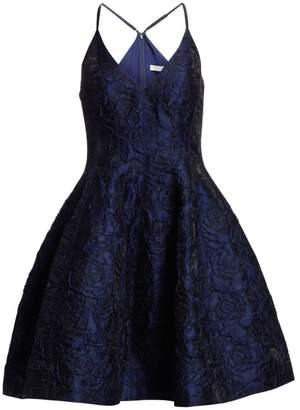 Halston Sleeveless V-Neck Floral Jacquard Tulip Dress