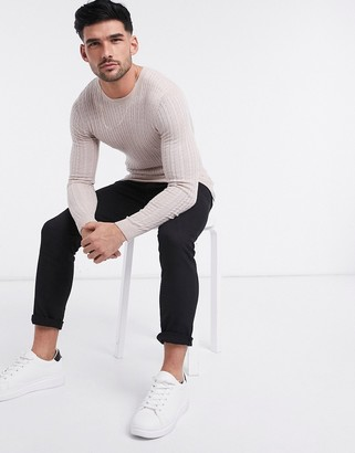 ASOS DESIGN muscle fit merino wool cable knit crew neck sweater in oatmeal marl