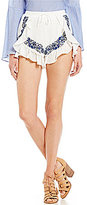 GB Embroidered Ruffle Trim Soft Shorts