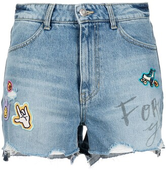 Sjyp Patch Denim Shorts