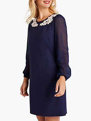 Yumi Sheer Tunic Dress, Navy