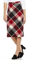 Pendleton Exploded Plaid Wool Midi Skirt