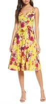 Taylor Dresses Floral Sleeveless Linen Blend A-Line Dress