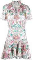 Sandro Paris ruffle trim printed short dress