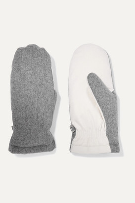Loro Piana Two-tone Brushed-cashmere Mittens - White
