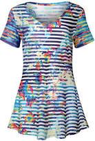 Lily Women's Tunics NVY - Navy & White Stripe Sea Animal V-Neck Tunic - Women & Plus