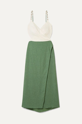Vix Connie Embellished Wrap-effect Linen-blend Midi Dress - Green