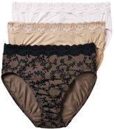 Olga Without a Stitch 3-pk. Lace-Trim Microfiber Hi-Cut Briefs 23067J - Women's