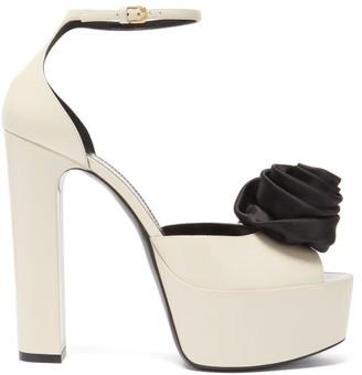 Saint Laurent Jodie Rose-embellished Leather Platform Sandals - White Black