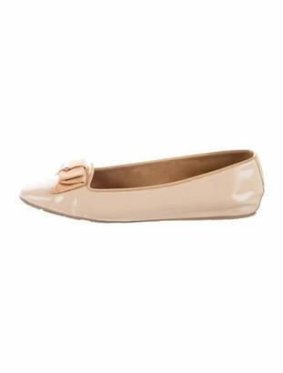 Salvatore Ferragamo Leather Square-Toe Flats Pink