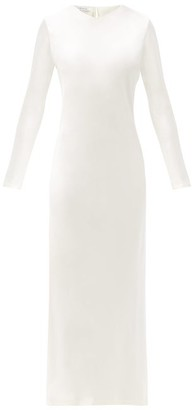 LA COLLECTION Jacqueline Long-sleeved Silk-satin Dress - Ivory