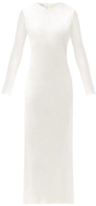 LA COLLECTION Jacqueline Long-sleeved Silk-satin Dress - Ivory