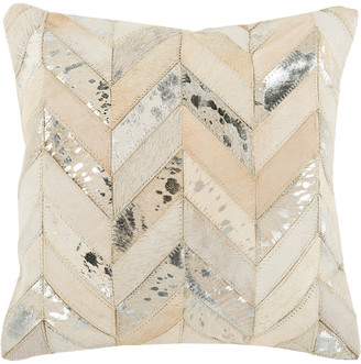 Safavieh Metallic Herringbone Cowhide Pillow
