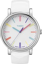 Timex Originals Women's T2N791 Quartz Watch with White Dial Analogue Display and White Leather Strap