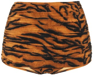 Norma Kamali Exclusive to Mytheresa Bill tiger-print high-rise bikini bottoms