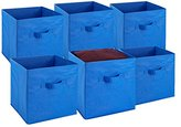 Foldable Cube Storage Bins - 6 Pack - These Decorative Fabric Storage Cubes are Collapsible and Great Organizer for Shelf, Closet or Underbed. Convenient for Clothes or Kids Toy Storage Unit (Blue)