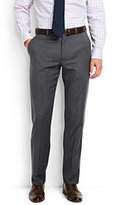Lands' End Men's Tailored Fit Plain Front Wool Gabardine Trousers-True Black