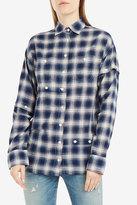 R 13 Undone Button Sleeve Plaid Shirt